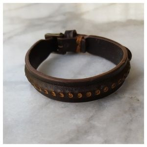 Jewelry - Perforated Studded Leather Bracelet